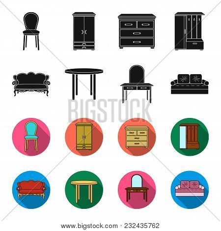 Sofa, Armchair, Table, Mirror .furniture And Home Interiorset Collection Icons In Black, Flet Style