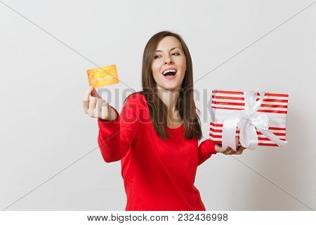 Beautiful Woman Holding Credit Card, Red Present Box With Gift Isolated On White Background. For Adv