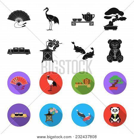Sushi, Koi Fish, Japanese Lantern, Panda.japan Set Collection Icons In Black, Flet Style Vector Symb