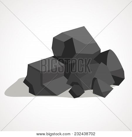 Black Minerals From The Mine.coal, Which Is Mined In The Mine.mine Industry Single Icon In Cartoon S