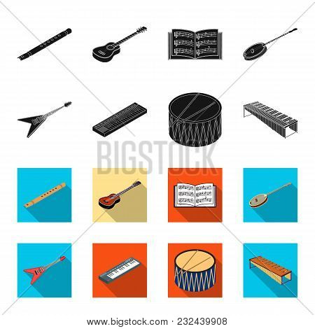 Musical Instrument Black, Flet Icons In Set Collection For Design. String And Wind Instrument Isomet