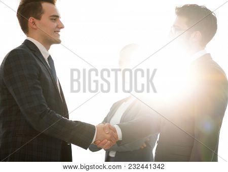 concept of partnership. handshake business partners.