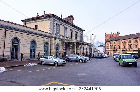 Aosta, Italy - March 6, 2018: Railway Station On 6 March 2018 In Aosta, Italy. Aosta Is A Beautifull