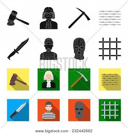 Knife, Prisoner, Mask On Face, Steel Grille. Prison Set Collection Icons In Black, Flet Style Vector