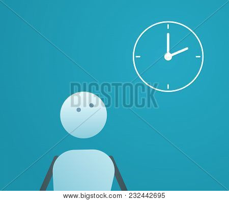 Character Looking At The Time. Vector Illustration For Time Management Concepts