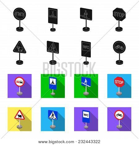 Different Types Of Road Signs Black, Flet Icons In Set Collection For Design. Warning And Prohibitio