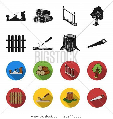 Fence, Chisel, Stump, Hacksaw For Wood. Lumber And Timber Set Collection Icons In Black, Flet Style