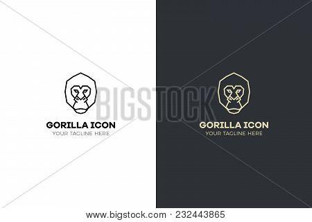 Stylized Geometric Gorilla Head Illustration. Vector Icon Tribal Ape Design