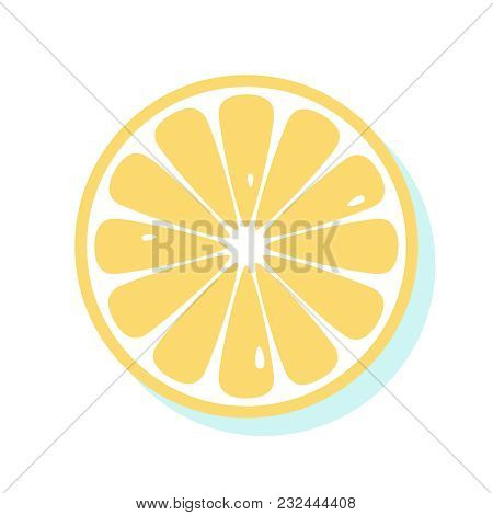 Yellow Fresh Lemon. Top View Of Slice Of Citrus Fruit Isolated On White Background. Healthy Food Ill