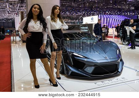Geneva, Switzerland - March 7, 2018: New W-motors Fenyr Supersport Sports Car Presented At The 88th