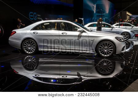 Geneva, Switzerland - March 7, 2018: New Mercedes Benz S-class Hybrid Car Presented At The 88th Gene