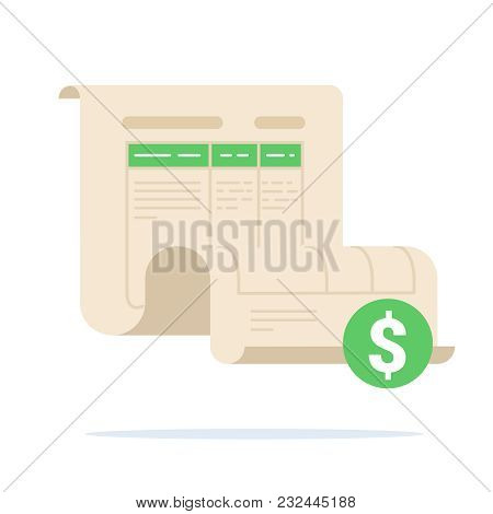 Invoice Concept, Bill Illustration, Commercial Payment Document. Approved Transaction Form Sheet, Bi
