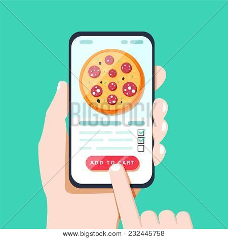 Choosing Pizza On Mobile Smart Phone App. Tapping On The Screen Making Pizza Delivery Order In Conve