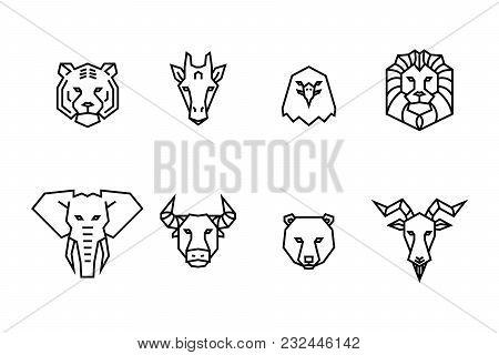 8 Animal Heads Icons. Vector Geometric Illustrations Of Wild Life Animals.