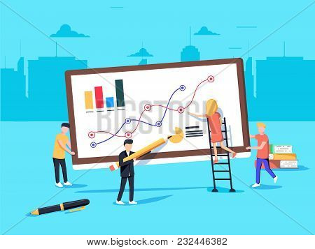 Vector Illustration In Flat Style And Blue Color. Business Analytics And Marketing Concept. Team Wor