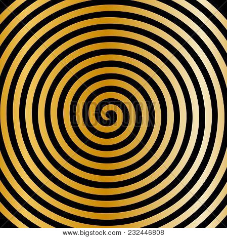 Black Gold Round Abstract Vortex Hypnotic Spiral Wallpaper. Vector Illustration Optical Illusion Spi