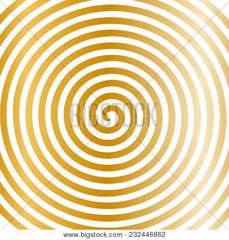 White Gold Round Abstract Vortex Hypnotic Spiral Wallpaper. Vector Illustration Optical Illusion Spi