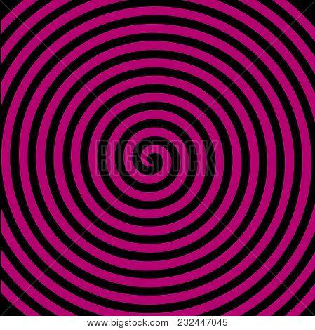 Black Purple Round Abstract Vortex Hypnotic Spiral Wallpaper. Vector Illustration Optical Illusion S