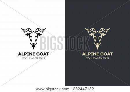 Stylized Geometric Goat Head Illustration. Vector Icon Design
