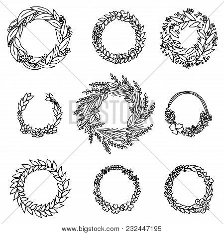 Wreath With Flowers. Vector Set. Cute Floral Collection, Hand Drawn Watercolor. Wedding Or Greeting