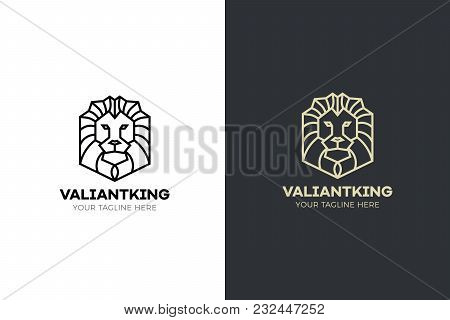 Stylized Geometric Lion Head Illustration. Vector Icon Tribal Design