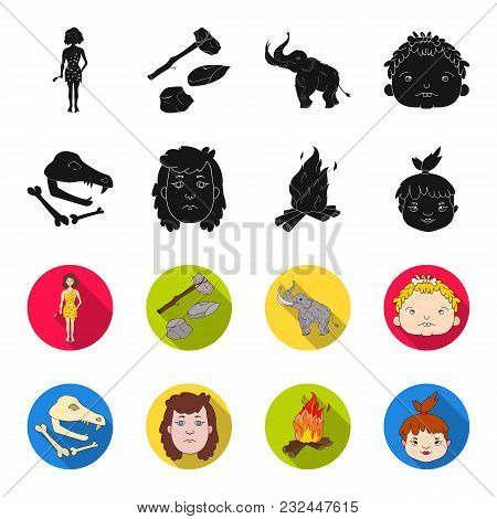 Woman, Hair, Face, Bonfire .stone Age Set Collection Icons In Black, Flet Style Vector Symbol Stock