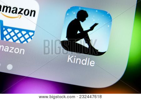Sankt-petersburg, Russia, March 22, 2018: Amazon Kindle Application Icon On Apple Iphone X Screen Cl