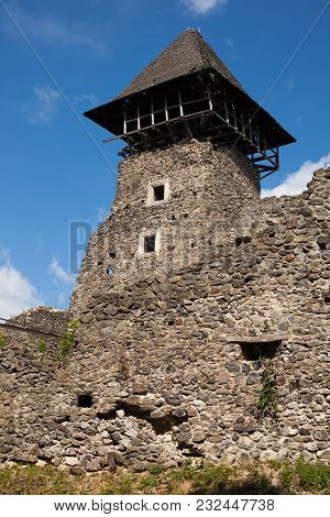 Ruins Of Castle Nevytske In Transcarpathian Region. Main Keep Tower (donjon)