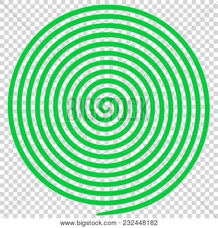 Green Round Abstract Vortex Hypnotic Spiral. Vector Illustration Optical Illusion Helix Anaglyph Opt