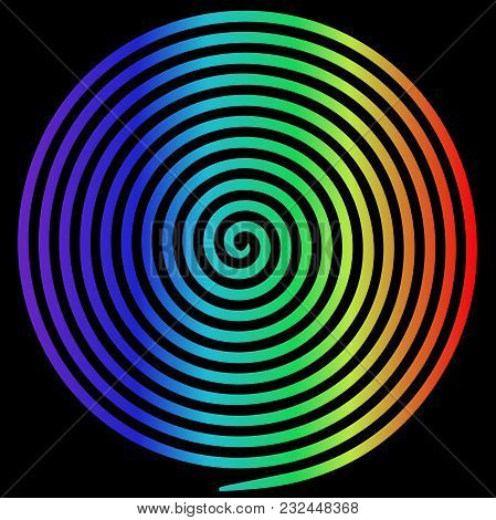Rainbow Round Abstract Vortex Hypnotic Spiral. Vector Illustration Optical Illusion Helix Anaglyph O