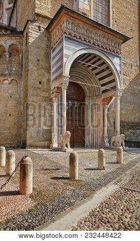 Bergamo, Italy - August 18, 2017: Facade Of The Basilica Of Santa Maria With A Luxurious Porch..