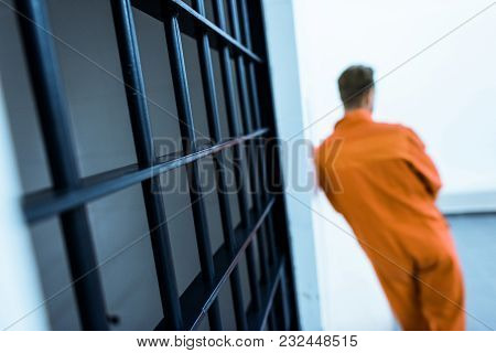 Rear View Of Prisoner Leaning On Wall In Prison Cell