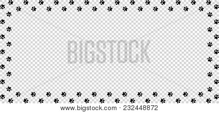 Rectangle Frame Made Of Black Animal Paw Prints On Transparent Background. Vector Illustration, Temp