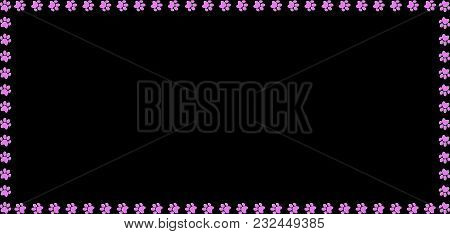 Rectangle Frame Made Of Pink Animal Paw Prints On Black Background. Vector Illustration, Template, B