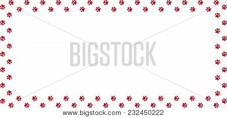 Rectangle Frame Made Of Pink Animal Paw Prints On Transparent Background. Vector Illustration, Templ