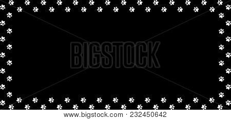 Rectangle Frame Made Of White Animal Paw Prints On Black Background. Vector Illustration, Template,