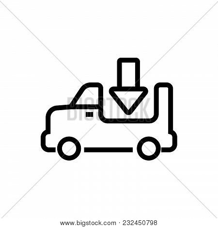 Lorry With Open Platform, Open Truck Outlined Symbol