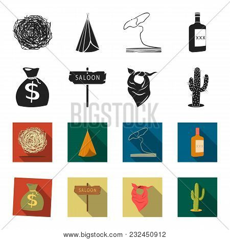 Bag Of Money, Saloon, Cowboy Kerchief, Cactus. Wild West Set Collection Icons In Black, Flet Style V