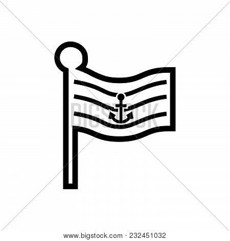 Flag With Anchor Outined. Flag Icon Jpg. Flag Icon Vector. Flag Icon Eps