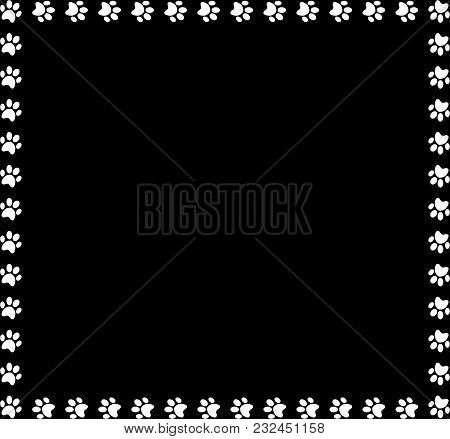 Square Frame Made Of White Animal Paw Prints On Black Background. Vector Illustration, Template, Bor