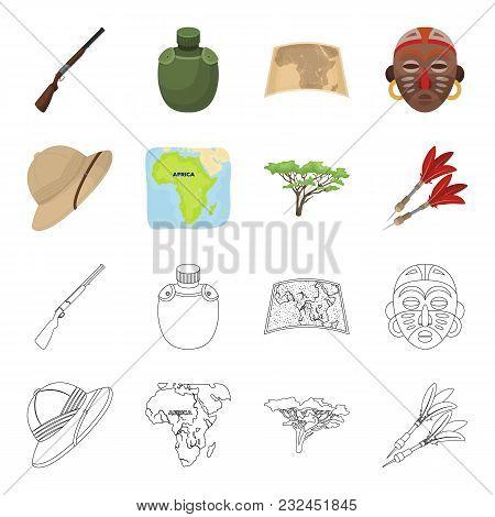 Cork Hat, Darts, Savannah Tree, Territory Map. African Safari Set Collection Icons In Cartoon, Outli