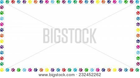 Rectangle Frame Made Of Multicolored Rainbow Animal Paw Prints On White Background. Vector Illustrat