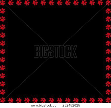 Square Frame Made Of Red Animal Paw Prints On Black Background. Vector Illustration, Template, Borde