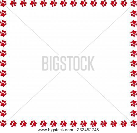 Square Frame Made Of Red Animal Paw Prints On White Background. Vector Illustration, Template, Borde