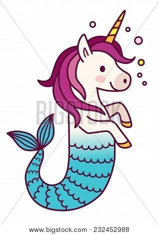 Cute Unicorn Mermaid Simple Vector Cartoon Illustration. Magical Creature With Unicorn Head And Body