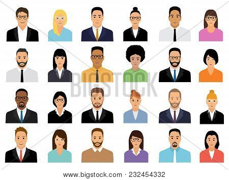 People Icons Set. Team Concept. Diverse Business Men And Women Avatar Icons. Vector Illustration Of