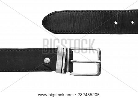 Parts Of Black Leather Belt On White Background Closeup