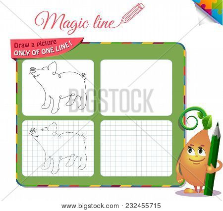 Draw A Picture Only Of One Line Piggy