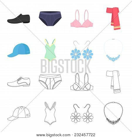 Cap, Earrings, Necklace, Swimsuit. Clothing Set Collection Icons In Cartoon, Outline Style Vector Sy