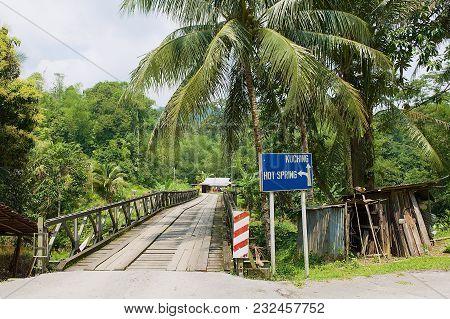 Kuching, Malaysia - August 27, 2009: View To The Bridge Leading To The Annah Rais Bidayuh Village In
